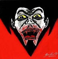 DRACULA VAMPIRE UNIVERSAL MONSTERS 6X6 ACRYLIC PAINTING CANVAS PANEL ORIGINAL...
