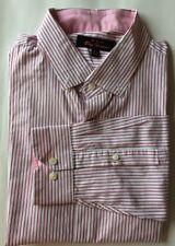 Ben Sherman Men Dress Shirt Pink White Striped Size 16 1/2 34-35 L Cotton L/S
