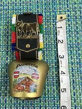 AUSTRIAN SOUVENIR COW BELL WITH LEATHER STRAP BRASS BELL TRAM AND CHALET PAINTED