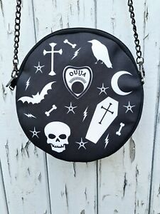 Round Black Gothic Bag - Handbag Coffin Skeleton Horror Ouija Bat