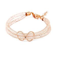 Korean Style Dual Mesh Tube Clear Crystal Bracelet Golden Jewelry for Women Gift