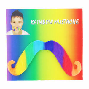 Rainbow Facial Hair LGBT Gay Pride Fake Mustache Self Adhesive Fancy Dress Party