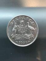 1936 Australia Sixpence. Silver. King George V. Beautiful. 12//2/16, Free Ship
