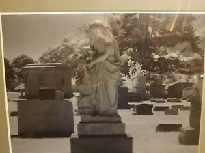 Original Black and White Infrared Photo Of A Angelic Tombstone in a Cemetery