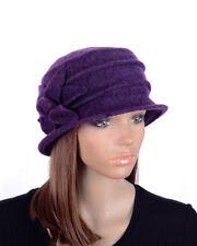 M495 Purple Women's Cute Flower Wool Acrylic Winter Beanie Hat Cloche Dress Cap