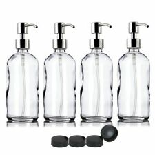 4 Pcs Clear Glass Dispenser Bottle Stainless Steel Pump Storage Cap Bathroom Use