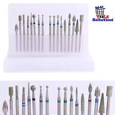 Set 17 pcs punte diamantate per fresa manicure pedicure ricostruzione unghie