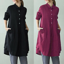 ZANZEA Women Pullover Tunic Cotton Top Blouse Shirt Party Plus Size Short Dress