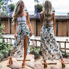 Womens Floral Gypsy Long Maxi Wrap Skirt Summer Holiday Beach Spilt Warp Dress