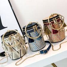 Women Ring Handle Straw Bucket Bag Fashion Style Barrel Bag Rattan Small Handbag