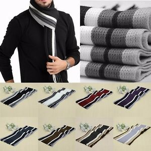 Unisex Men Women Winter Striped Shawl Scarf Wrap Fringe Warm Tassel Trim Scarf
