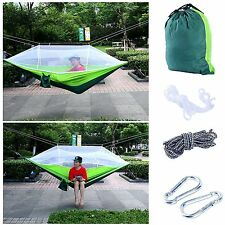 Tree Straps With Mosquito Net Double Hammock Travel Camping Outdoor Bed /Green