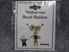 January Baby Birthstone Bead Babies Necklace Pendant Charm Gold Tone Rhinestone
