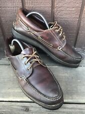 Mens Bass Size9.5 Brown Leather Vibram MocToe BoatDeck Loafers Casual SlipOn-474