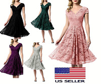 Women Vintage Floral Lace Bridesmaid Dress 1/4 Sleeve Wedding Party Midi Dress