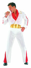 Mens Plus Size White Elvis Fancy Dress Costume Music Star Impersonator Outfit Ne