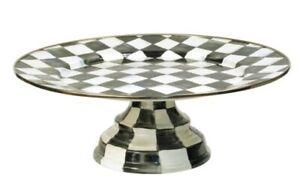 "MacKenzie-Childs Courtly Check Enamel Pedestal Platter - Small 12"" dia, 4.5"" H"