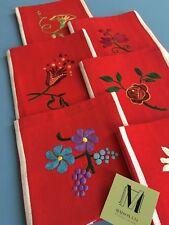 6 Serviettes de table Vintage Coton Broderie fleurie Art de la table 1810/124-2