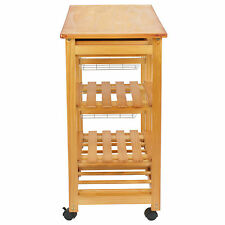 Wood Kitchen Island Cart Trolley Portable Rolling Storage Dining Table 2 Drawers