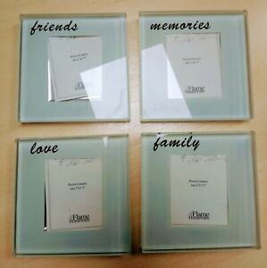 4 x Glass Coaster Picture Frames - Personalise with your own photos & memories