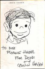 Irwin Hasen Hand Drawn  Dondi  Sketch on 4  x 6.5  Card Signed w/ COA Comic Art
