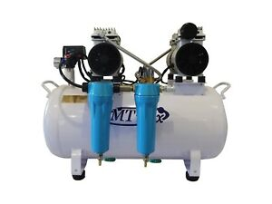 2HP, 12 Gallon, Oil Free & Noiseless Dental Air Compressor w/ inline dryer