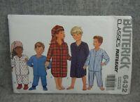 Butterick 6432 Children Boys Girls 2-6x Pajamas Nightshirt Booties Hat Fast Easy