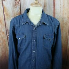 Levi's Men's 2XL Denim Pearl Snap Button Shirt Blue Long Sleeve XL Western