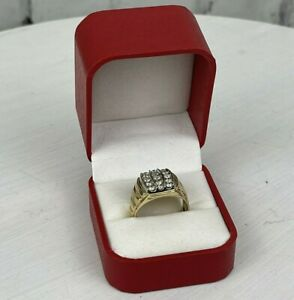 Vintage 10k Gold Diamond Mens Channel Set Band Ring 1.25 Carat Sz 10 Womens