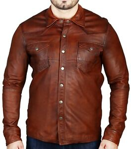 New Mens Distressed Brown Slim Fit Shirt Style Button Real Lambskin Jacket