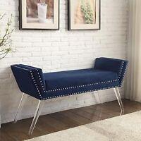 Velvet Upholstered Bench Ottoman Handmade Nailhead Trim Modern Acrylic Legs