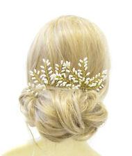 2x Large Gold Ivory Vine Fern Leaf Pearl Hair Pins Bridal Wedding Headpiece 1077