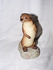 VINTAGE AYNSLEY BISQUE PORCELAIN FIGURINE OTTER JOHN AYNSLEY 1975 6 INCHES HIGH