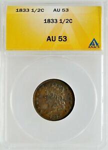 1833 Classic Head Half Cent ANACS AU 53 Copper 1/2 Cent Investment Coin