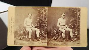 1800s Boxing Great Joe Coburn Stereoview Irish Heavyweight