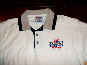 Jeff Gordon Winston Cup Nascar Racing Embroidered Polo Shirt Medium Cream & Blue