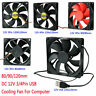 PC Case Cooling Fan 80/90/120mm DC 12V 3/4 Pin USB CPU Computer Cooler Fans