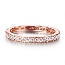 Natural Diamond Solid 18K Rose Gold Simple Eternal Engagement Wedding Band Ring