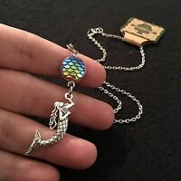"Mermaid Necklace Sea Ocean SILVER Charm Pendant Nautical 18"" Scale Rainbow Ariel"