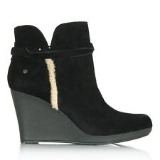 UGG® AUSTRALIA ALEXANDRA BLACK SUEDE WEDGE ANKLE BOOTS UK 8.5 EUR 41 RRP £140