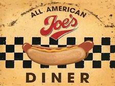 JOE'S DINER anni '50 AMERICANA HOT DOG retrò vintage cibo, misura media metallo/