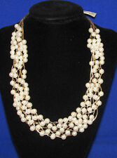 NEW Macys Goldtone Chain Necklace w/ Faux Pearl Beads Woven Braided