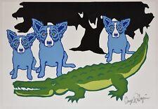 George Rodrigue Blue Dog Later Gator White 1 of 1 Silkscreen Print Signed Art