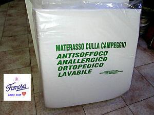 MATERASSO CULLA DA CAMPEGGIO ORTOPEDICO 100% COTONE PIEGHEVOLE PER IL TRASPORTO