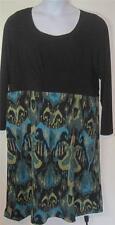 Bob Mackie Wearable Art plus sz 1X black green gold empire waist dress j94