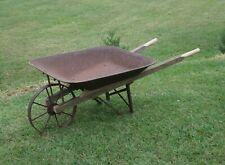 Antique Steel & Wood Wheelbarrow Rebuilt iron metal wheel farm garden Vintage