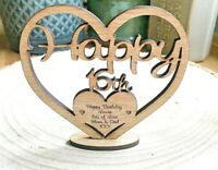 Wooden Heart Personalised Freestanding Birthday Message Present Sizes 10-20cm