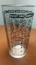 Vintage 12oz Federal Glass 7 Recipe Cocktail Mixer Shaker Black Paint ClearGlass