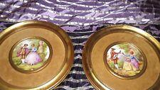 "Pair Antique Limoges Fragonard Glazed Porcelain Lovers 12"" Plates-Beautiful"