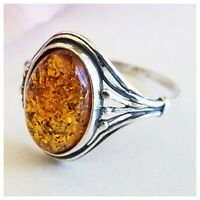 BALTIC AMBER 925 STERLING SILVER Ring Genuine HONEY AMBER RING 2gr SIZE 7.5